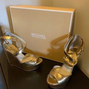 MK gold Metallic Wedges